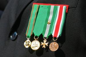 Militära klänning enhetliga regler för medaljer